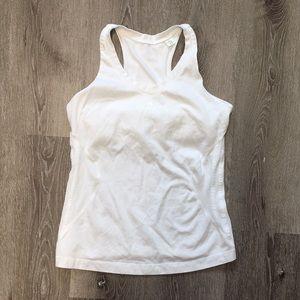 Adidas white tank + built-in bra